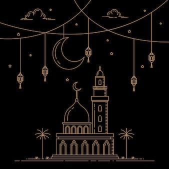 Celebrazione islamica di stile di linea mono stile