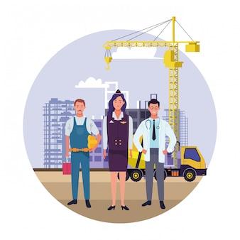 Celebrazione nazionale di occupazione di occupazione di festa del lavoro, lavoratori dei professionisti nell'illustrazione di vista della costruzione della città anteriore