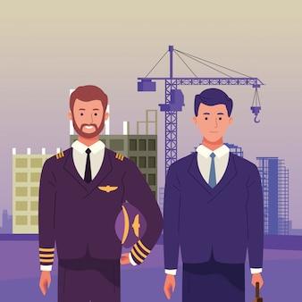 Celebrazione nazionale di occupazione di occupazione di festa del lavoro, pilota con i lavoratori esecutivi dell'uomo di affari nell'illustrazione di vista della costruzione della città anteriore