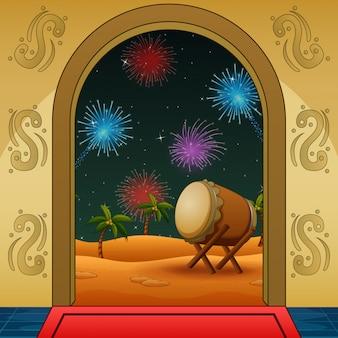 Celebrazione notturna takbir con fuochi d'artificio