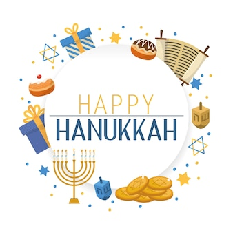 Celebrazione tradizionale di hanukkah con decorazione di religione