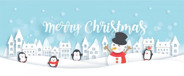 Celebrazioni di buon natale con simpatici pinguini e pupazzo di neve nell'illustrazione del villaggio di neve