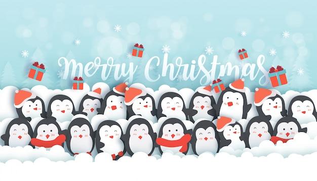 Celebrazioni di natale con simpatici pinguini nella bandiera della foresta di neve