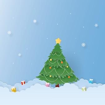 Celebrazioni di natale, felice anno nuovo, albero di natale e regali, vettore di artigianato, design
