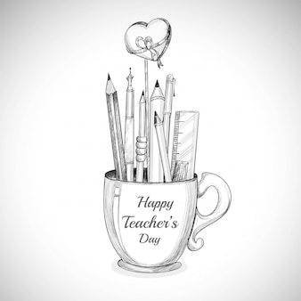 Celebriamo la tazza del giorno dell'insegnante felice e lo schizzo a matita