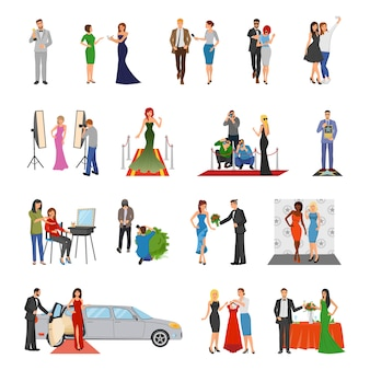 Celebrity flat colored decorative icons