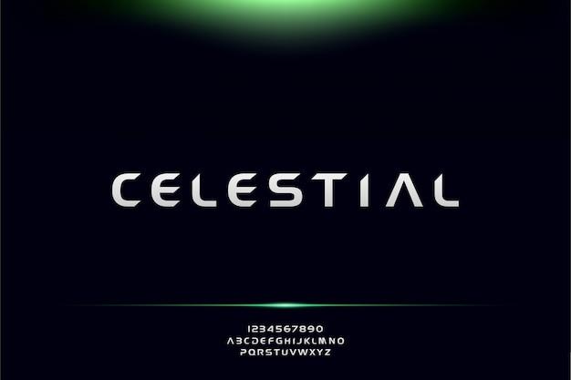 Celestial, un carattere futuristico astratto alfabeto con tema tecnologia. moderno design tipografico minimalista