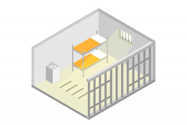 Cella di prigione isometrica. prigione, concetto di incarcerazione. illustrazione vettoriale