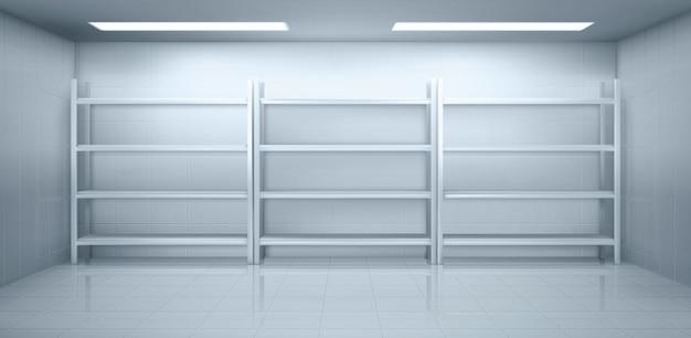 Cella frigorifera in magazzino con scaffali vuoti del metallo
