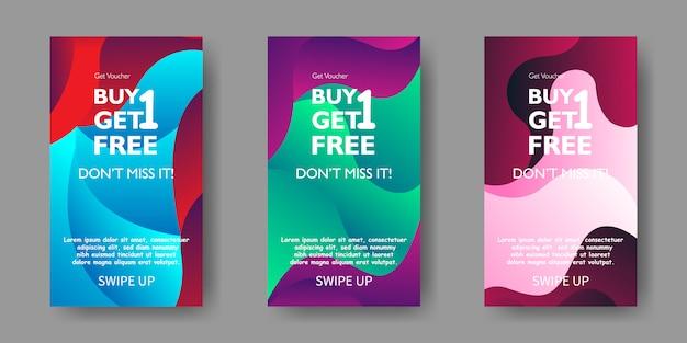 Cellulare fluido moderno per banner di vendita flash. progettazione del modello di banner di vendita, set di offerte speciali di vendita flash.