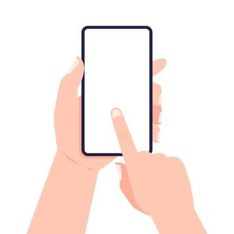 Cellulare in mano. mano che tiene smartphone e schermo commovente. .
