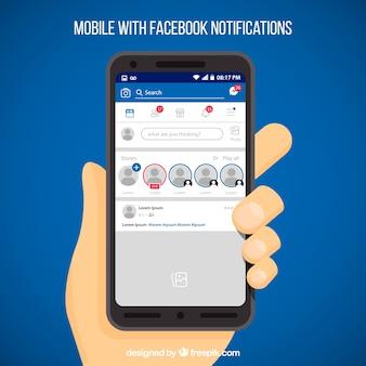Cellulare piatto con notifiche di facebook