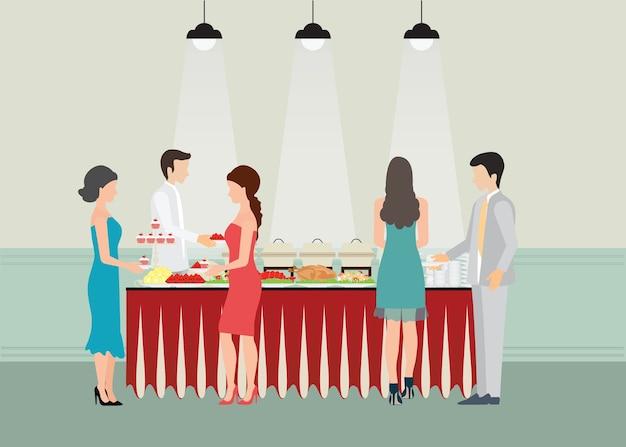 Cena a buffet, pranzo, festa di celebrazione del cibo.