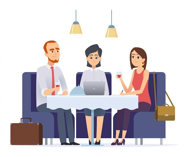 Cena di lavoro. incontro con il partner di lavoro o il cliente nei personaggi del pranzo di lavoro del ristorante executive cafe