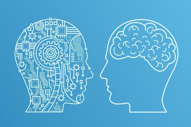 Cenni di testa di macchinario di cyborg e quello umano con il cervello. illustrazione vettoriale stile linea.