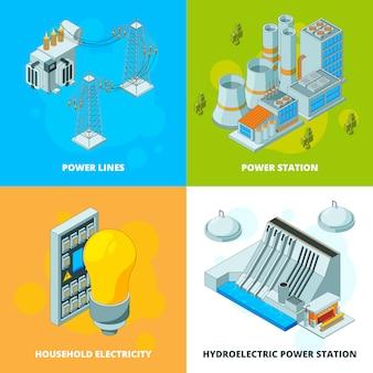 Centrali energetiche. immagini isometriche della trasmissione ad alta tensione del generatore di simboli elettrici