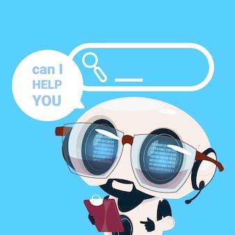 Centro assistenza auricolare agente robot cliente operatore online cliente intelligenza artificiale cliente e servizio tecnico icona chat concetto