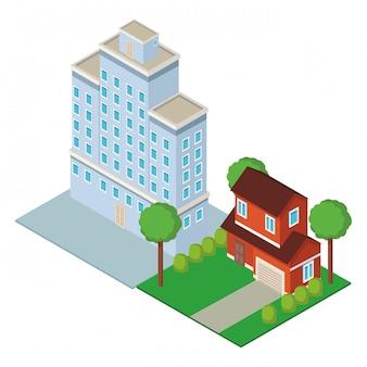 Centro città e costruzione isometrica