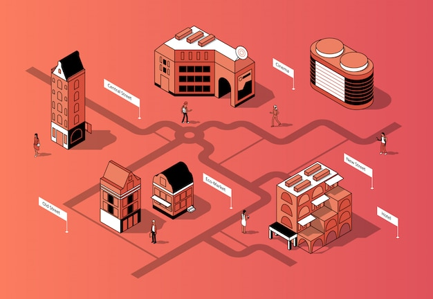 Centro città isometrica 3d. mappa urbana