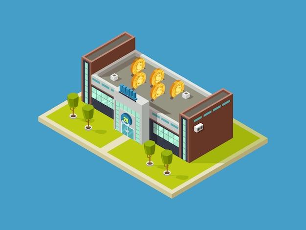 Centro commerciale disegno vettoriale isometrico. centro commerciale