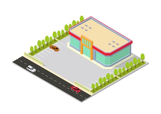 Centro commerciale isometrico o edificio del supermercato