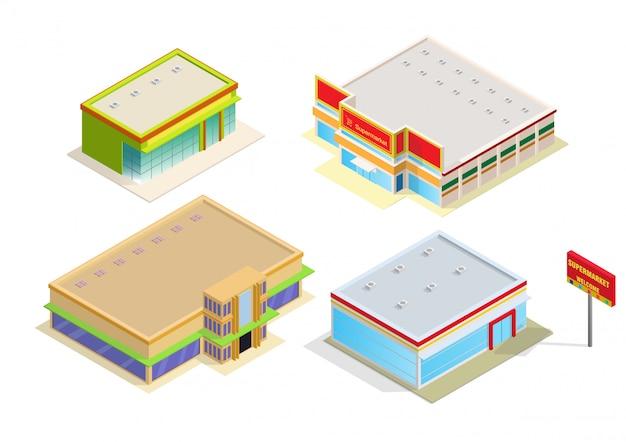 Centro commerciale isometrico o icona edificio supermercato