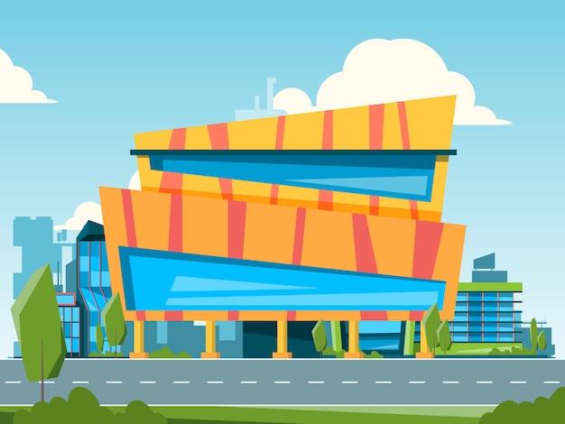 Centro commerciale. paesaggio della città con l'ipermercato e l'illustrazione delle case dei magazzini