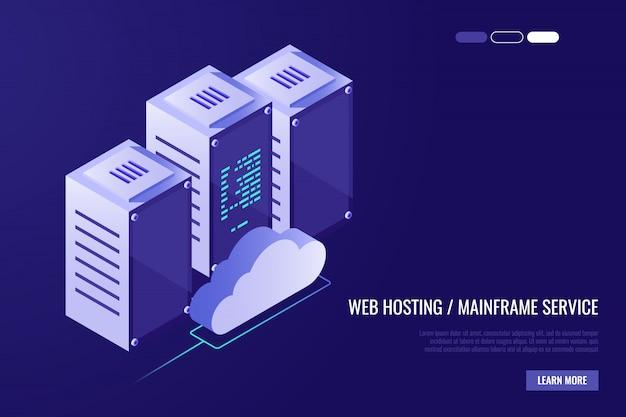 Centro dati cloud con server di hosting. tecnologia informatica, rete e database