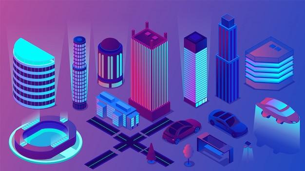 Centro di affari al neon di notte dell'illustrazione isometrica della città moderna