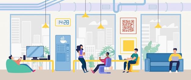 Centro di coworking, concetto di vettore dell'ufficio della società dell'informazione