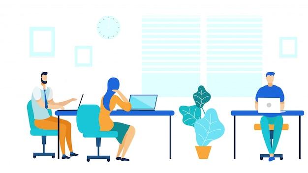 Centro di coworking, flusso di lavoro in ufficio