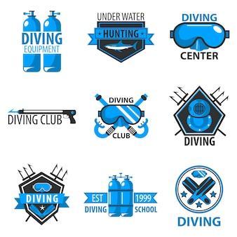 Centro di immersioni subacquee o vettore del club di caccia subacquea