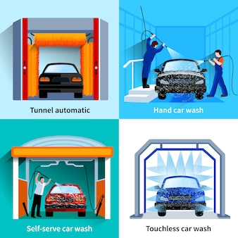 Centro lavaggio auto automatico touchless e strutture self service 4 icone piane quadrate