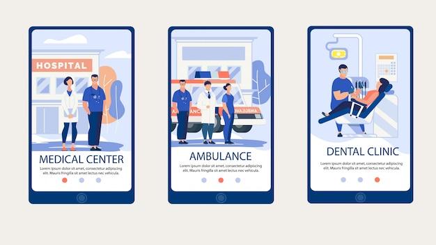 Centro medico di iscrizione poster informativo.