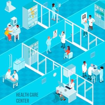 Centro sanitario composizione isometrica