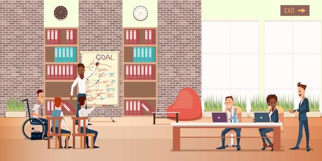 Centro ufficio coworking. riunione di uomini d'affari