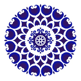 Ceramica di fiori blu e bianca