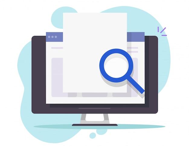 Cerca i dati di scansione online sul documento web internet vuoto vuoto per lo spazio della copia