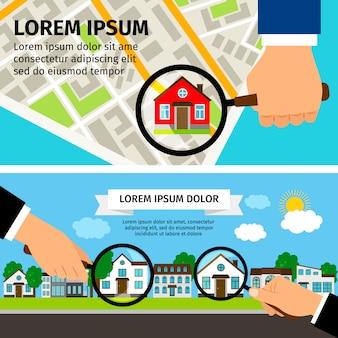 Cerca il concetto di casa con lente di ingrandimento con casa e mappa