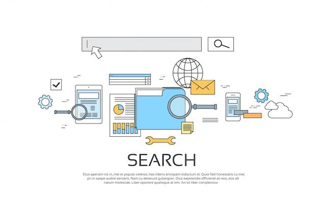 Cerca informazioni tecnologia online imposta icona
