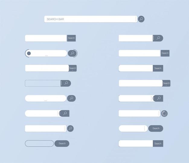 Cerca ui. impostare il design dell'elemento vettoriale della barra di ricerca, insieme dell'interfaccia utente delle caselle di ricerca.