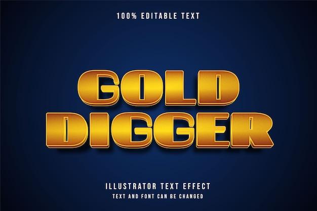 Cercatore d'oro, effetto di testo modificabile 3d