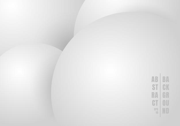 Cerchi astratti 3d bianco e sfondo grigio.