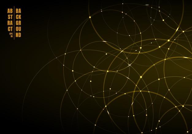Cerchi astratti d'oro che si sovrappongono sullo sfondo.