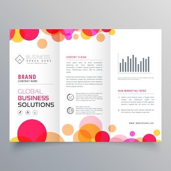 Cerchi creativi tri fold brochure design template per la presentazione aziendale