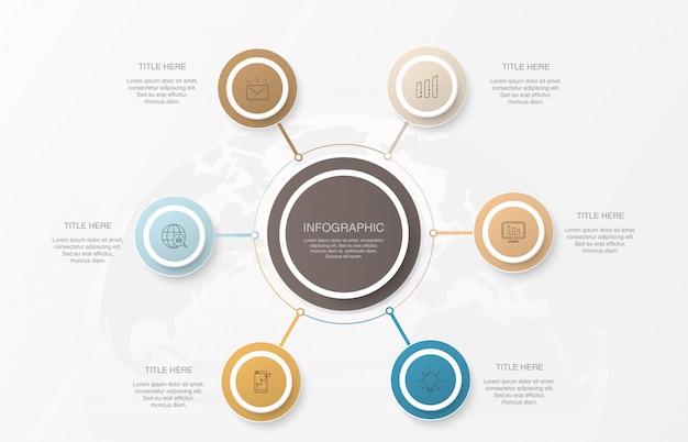 Cerchi di elementi di infografica e colori di base.