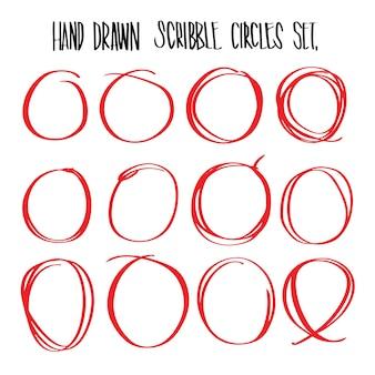 Cerchi di scribble rosso disegnati a mano, vettore illustrativo per infographic o altri usi.