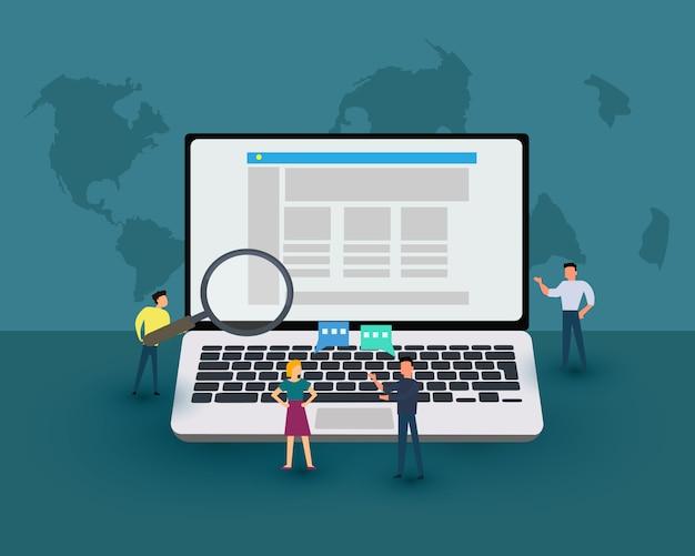 Cerchi l'illustrazione della gente che per mezzo del computer portatile per il lavoro di ricerca