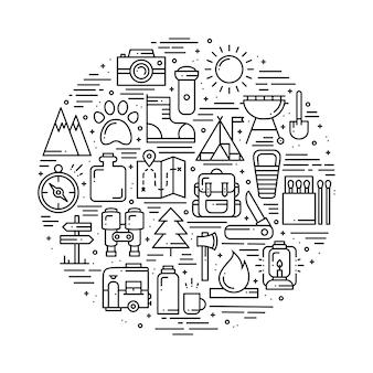 Cerchia con simboli escursionistici e campeggi