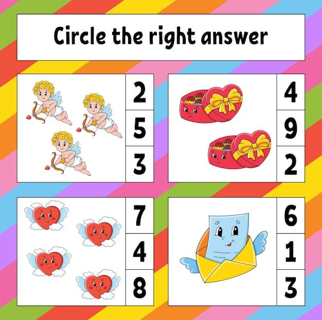 Cerchia la risposta giusta. foglio di lavoro per lo sviluppo dell'istruzione. pagina delle attività con immagini. san valentino.